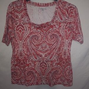 Croft & Barrow Red Paisley Top XL Plus